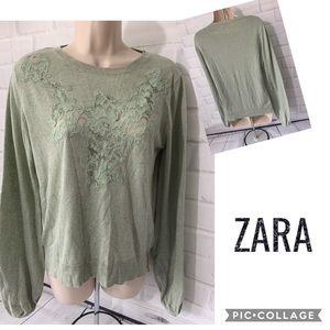 ZARA Knit Moss Green Lace Pullover Sweater L